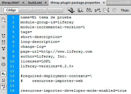 Aspecto del fichero liferay-plugin-package.properties del tema de Liferay