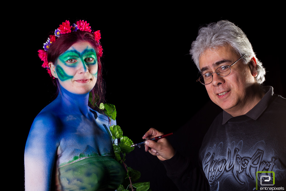 Hugo y Sandra, body paint de primavera