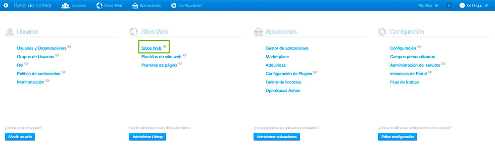 Panel de control Liferay 6.2